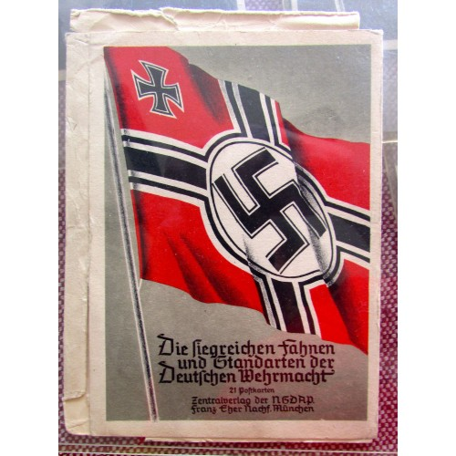 Die Siegreichen Fahnen und Standarten der Deutschen Wehrmacht 21 Postkarten Zentralverlag der NSDAP Franz Eher nachf. München # 5776