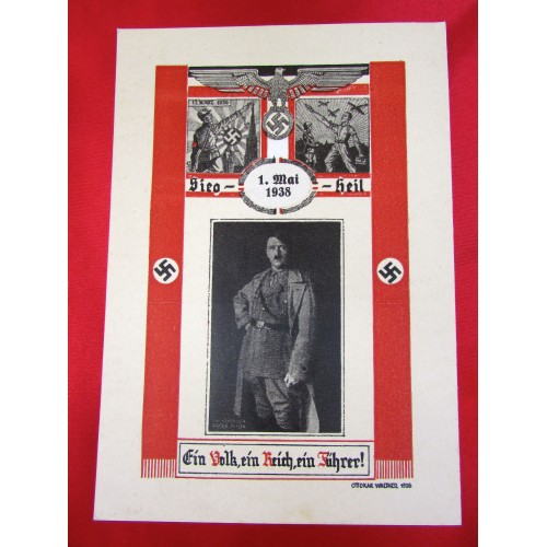 Sieg Heil Ein Volk Ein Reich Ein Führer Hitler Postcard # 5832