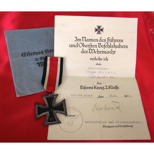 Iron Cross 2nd Class with Document # 6101