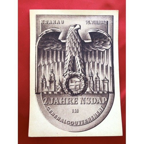 2 Year Anniversary NSDAP General Government Poland Postcard # 6356