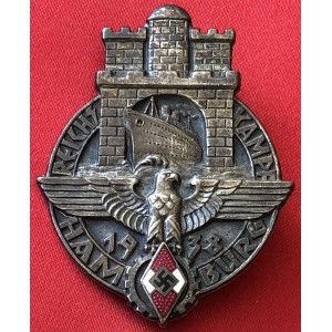 1938 Hitler Youth Reichskampf Hamburg Badge.Nice badge # 6367
