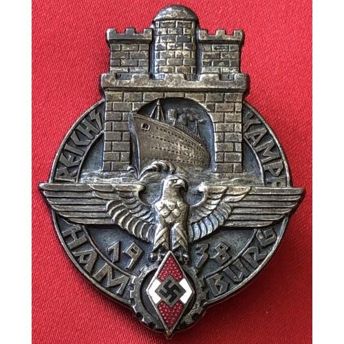 1938 Hitler Youth Reichskampf Hamburg Badge.Nice badge
