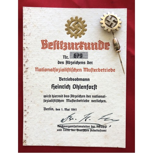 DAF Badge of the National Socialist Musterbetriebe # 6570