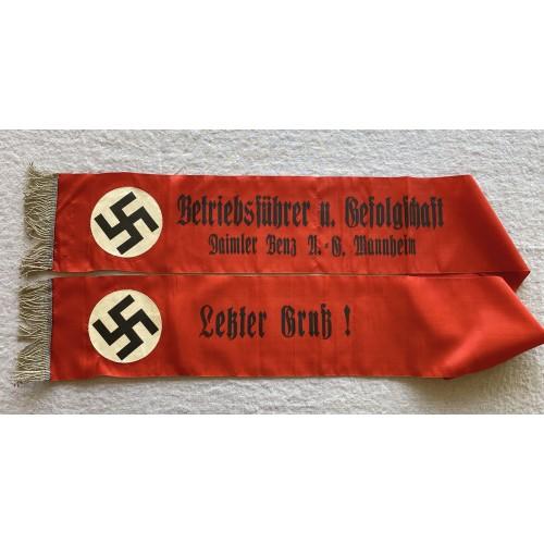 Daimler Benz A.G. Mannheim Funeral Sash