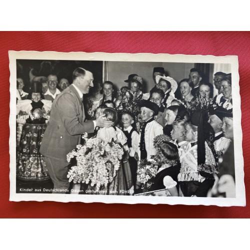 Kinder aus Deutschland Gauen gratulieren dem Führer Postcard # 6705