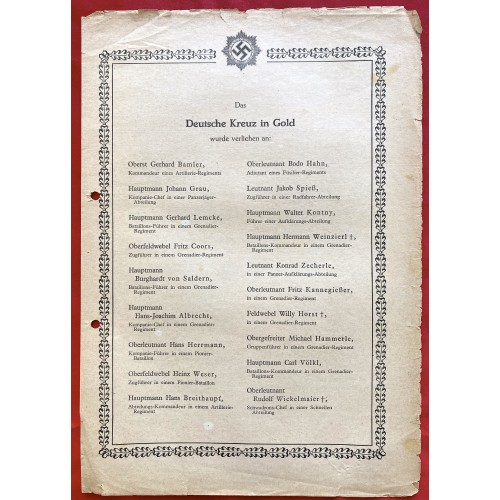 Das Deutsche Kreuz in Gold wurde verliehen an: # 6758