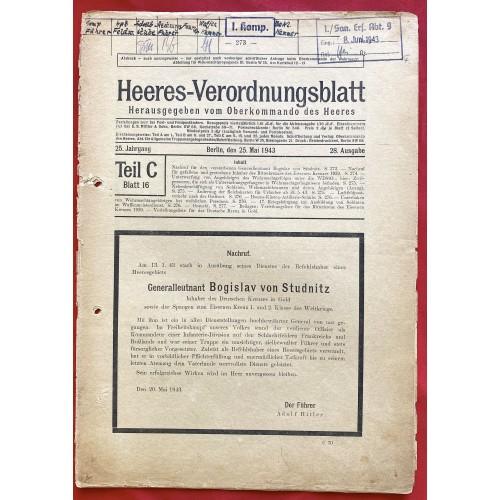 Heeres-Verordnungsblatt  # 6766