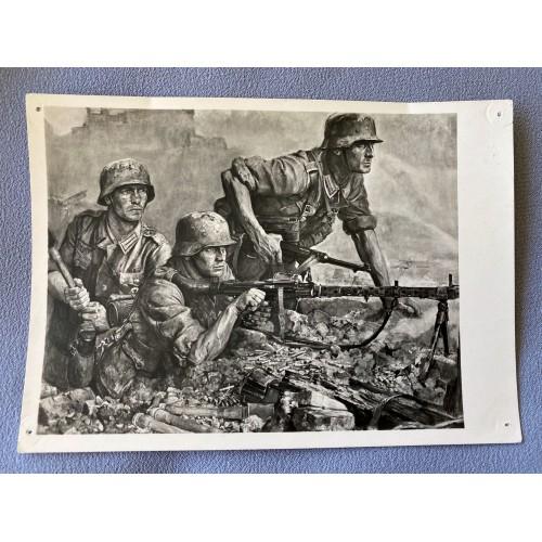 Artist Wilhelm Sauter Maschinengewehr, Wehrmachtsoldaten HDK 499 Postcard # 6898