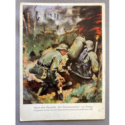 """Nach dem Gemälde """"Der Flammenwerfer"""" von Padua Postcard # 6966"""