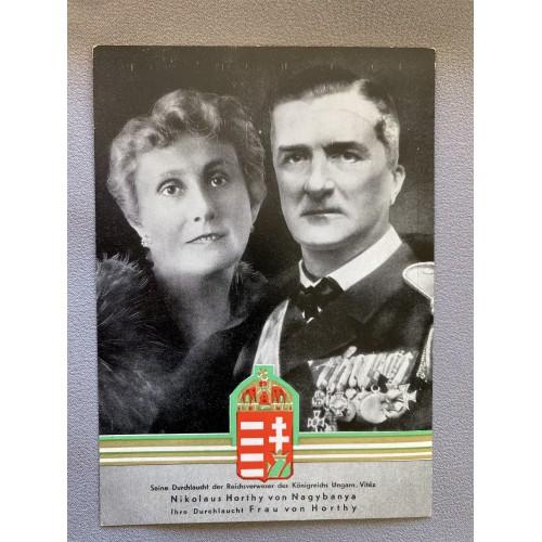 Nikolaus Horthy of Nagybanya and wife von Horthy Postcard # 6967