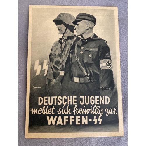 Deutsche Jugend meldet sich freiwillig zur Waffen SS Postcard # 7034