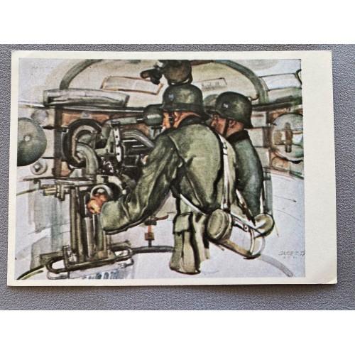 Professor A. Janesch Im 6. Schartenturm eines Werkes am Oberrh. Postcard # 7171