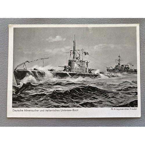 Deutsche Minensucher und Italienisches Untersee-Boot Postcard # 7221