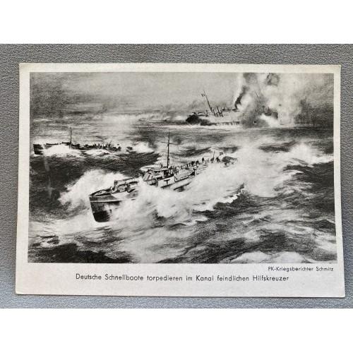 Deutsche Schnellboote torpedieren im Kanal feindlichen Hilfskreuzer Postcard # 7224