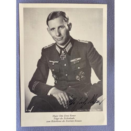 Major Otto Ernst Remer Autograph Postcard # 7442