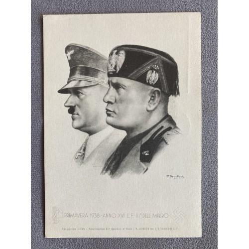 Mussolini Hitler Postcard # 7581