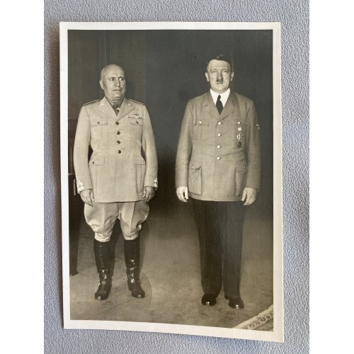 Mussolini Hitler Postcard