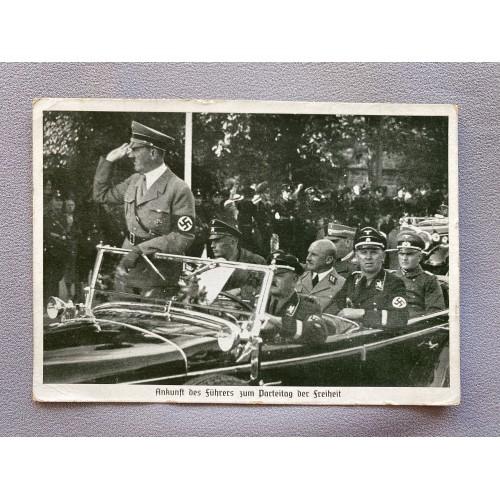 Hitler Schaub Streicher at Nuremberg Postcard # 7600