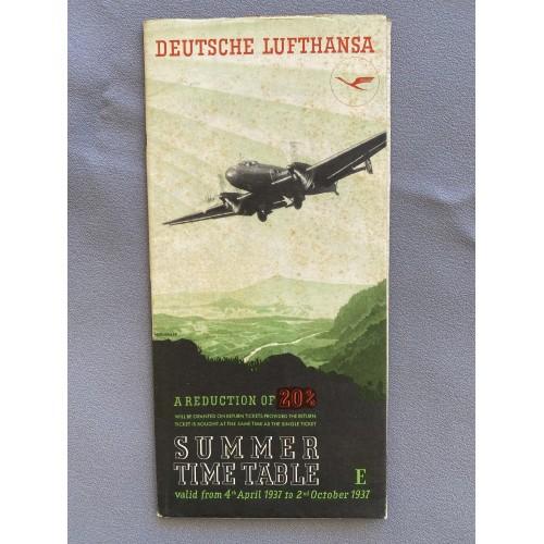 Deutsche Lufthansa 1937 Summer Time Table # 7702