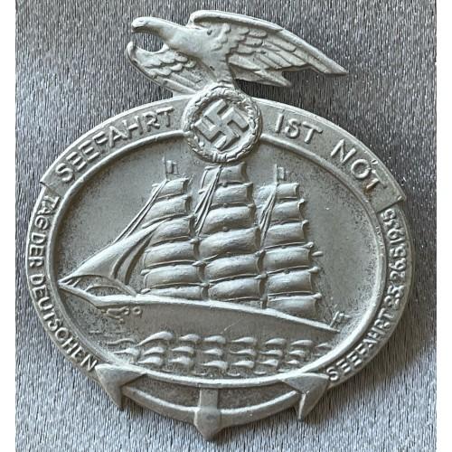 Seefahrt ist Not Tag der Deutschen Seefahrt 25. 26.5. 1935 Badge  # 7866