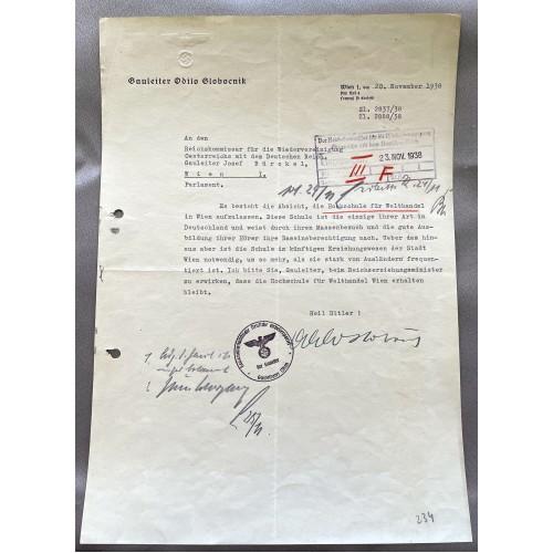 Odilo Globocnik Signed Document # 7954