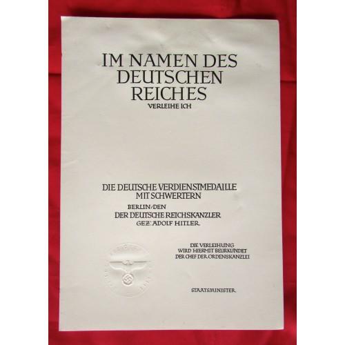 German Merit Medal Document # 5103