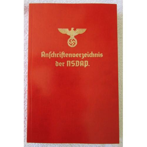 Anschriftenverzeichnis der NSDAP(Address Book of the Nazi Party) # 5324