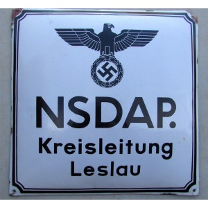 NSDAP. Kreisleitung Leslau Party Sign # 5010