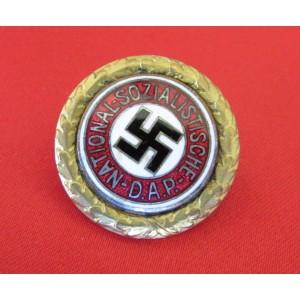 Golden Party Badge #1592 belonging to SS Standartenfuhrer and Deputy Gauleiter  Anton Mundler # 5053