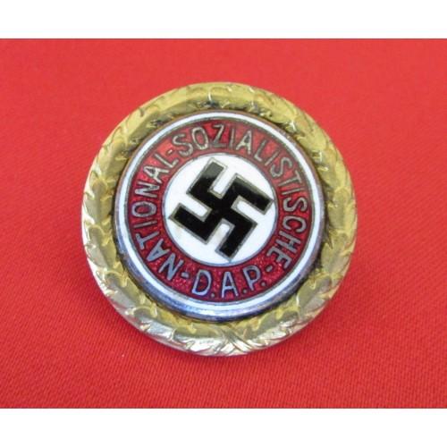 Golden Party Badge #1592 belonging to SS Standartenfuhrer and Deputy Gauleiter  Anton Mundler