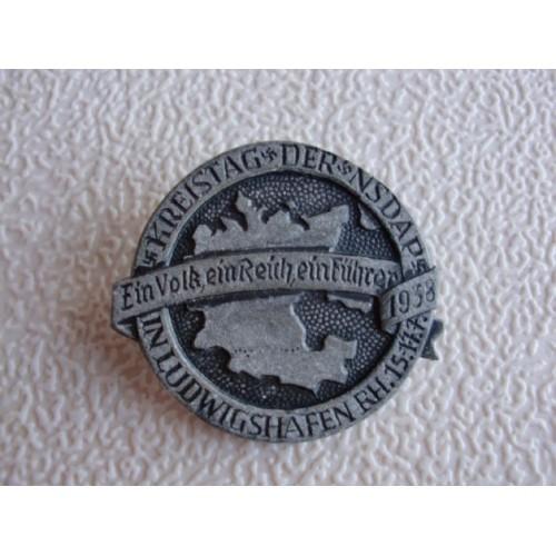 Kreistag der NSDAP in Ludwigshafen Rh. 15.-17.7.1938 Badge # 1270