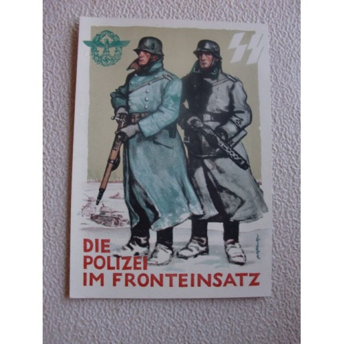 German SS Police Postcard  # 1411
