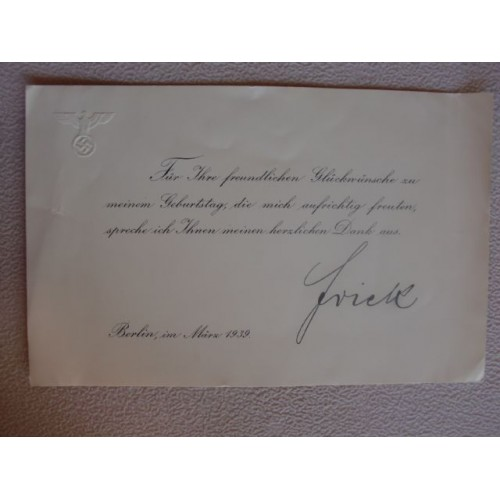 Wilhelm Frick Thank You Card # 1451