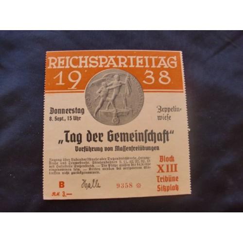 Reichsparteitag 1938 Ticket  # 1660