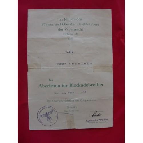 Blockade Runner Award Document