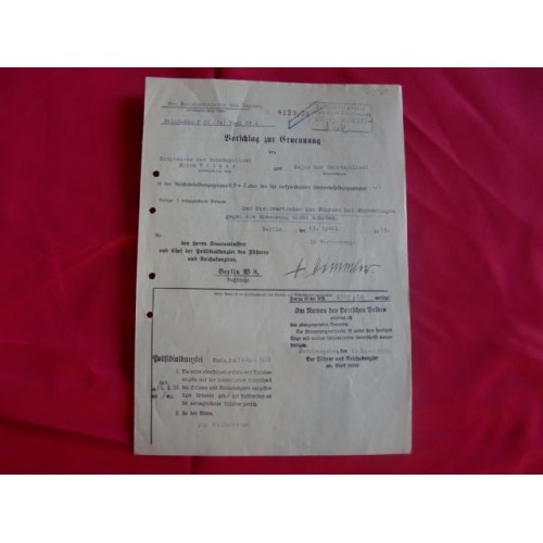 Himmler Signed Document # 2112
