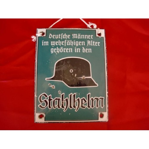 Stahlhelm Enamel Sign # 2458