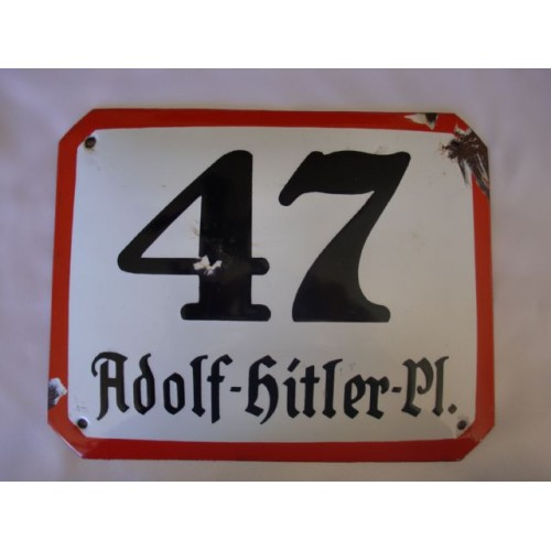 47 Adolf Hitler Pl. Enamel Sign # 2467