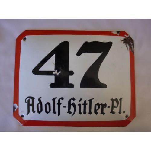 47 Adolf Hitler Pl. Enamel Sign # 2467