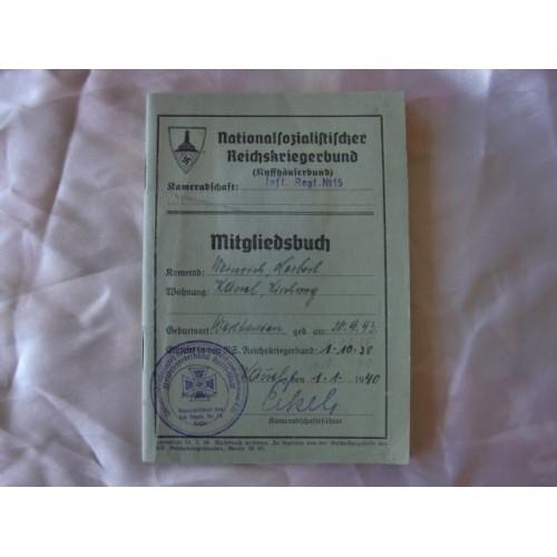 Deutscher ReichsKriegerbund Veteran's Mitgliedsbuch # 2880