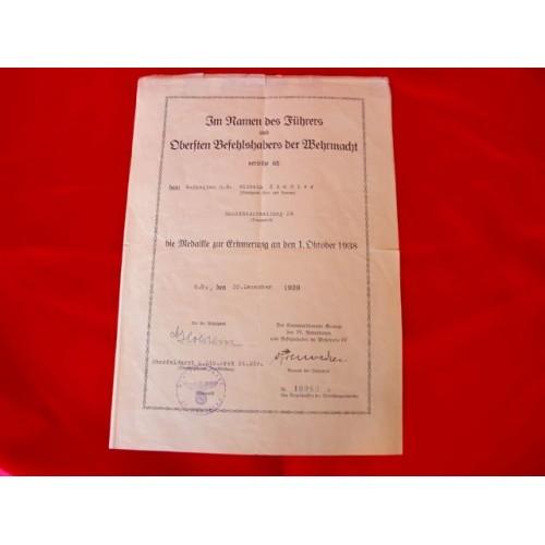 Czechoslovakia Medal Award Document # 2909