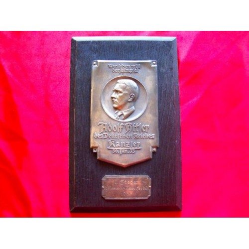 Hitler Award Plaque # 2980