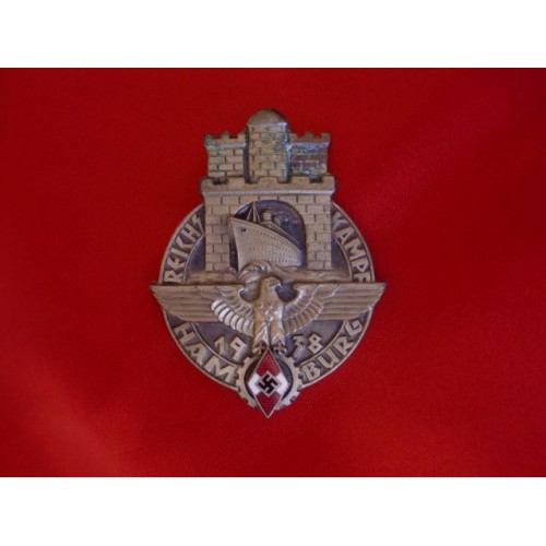 1938 Hitler Youth Reichskampf Hamburg Badge # 3471