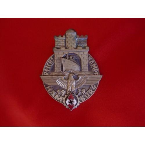 1938 Hitler Youth Reichskampf Hamburg Badge # 3471