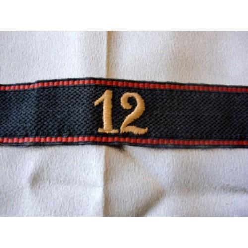 Allgemeine SS 12th Foot Regiment Cufftitle   # 3534