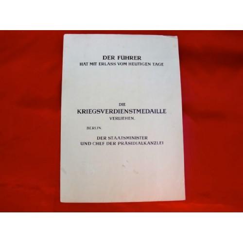 Kreigsverdienst Document # 3731