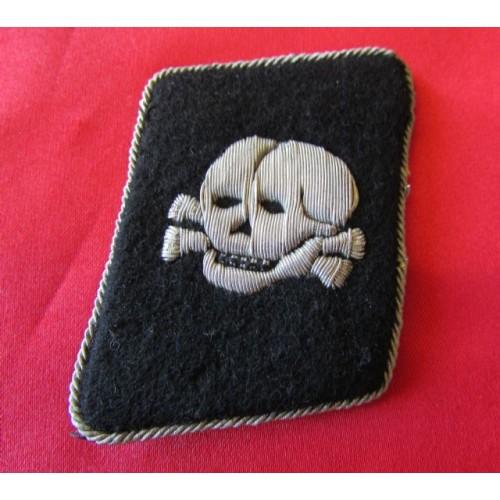 SS Officer Heavy SILVER Bullion Skull Collar Tab # 4123