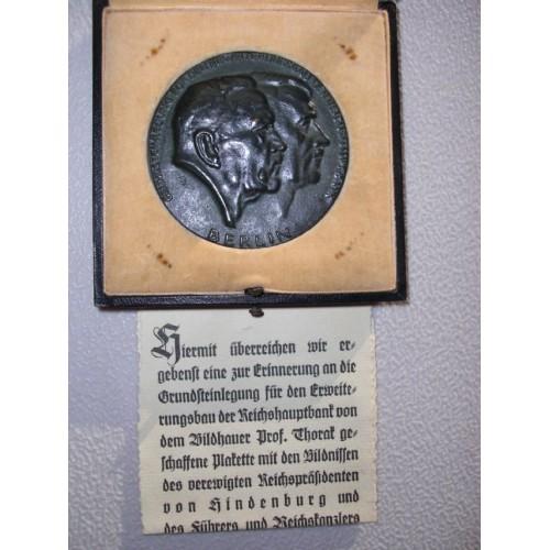 Hindenburg Hitler Cast Bronze Medallion  # 741